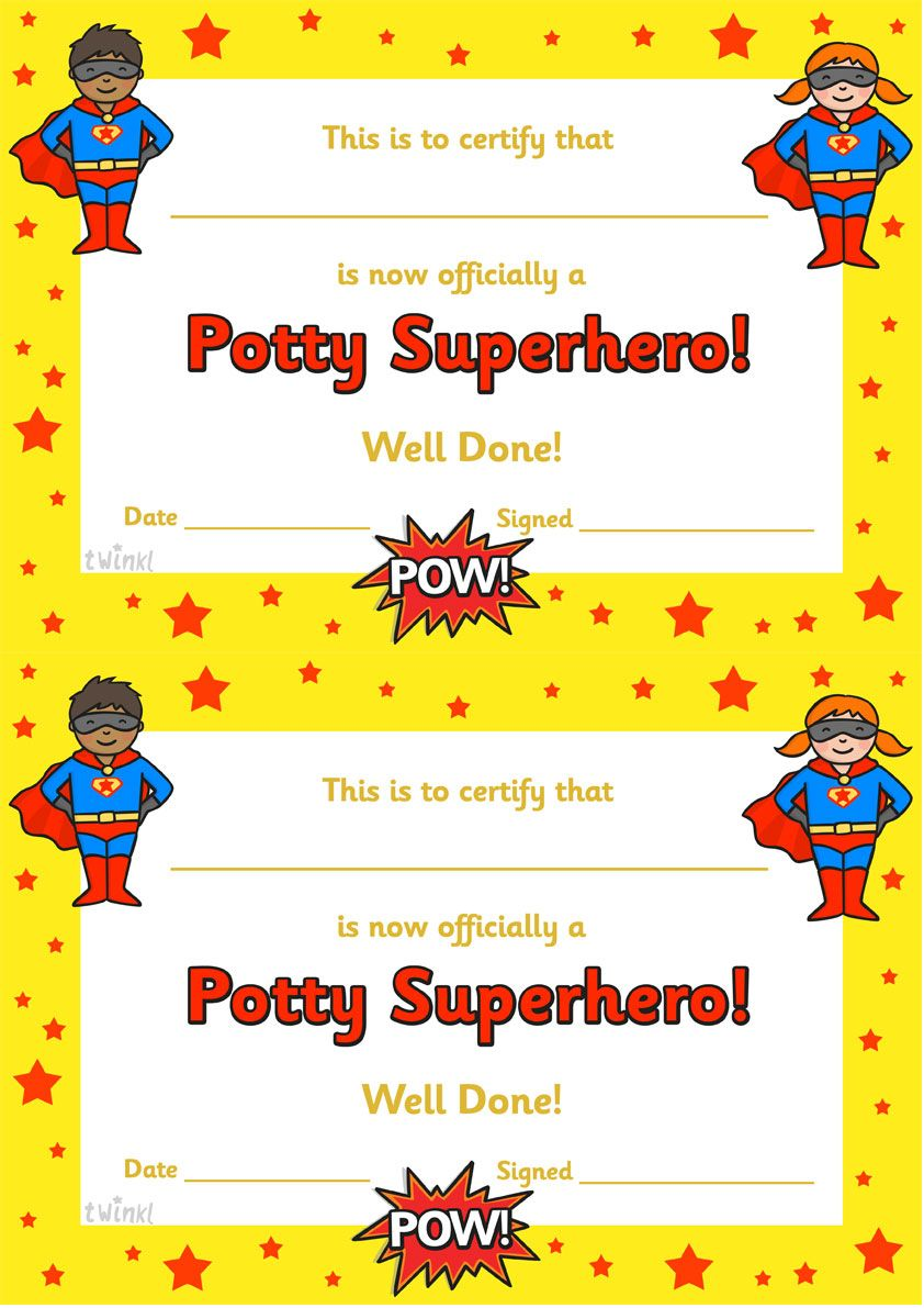 Twinkl Resources Potty Superhero Certificate Classroom