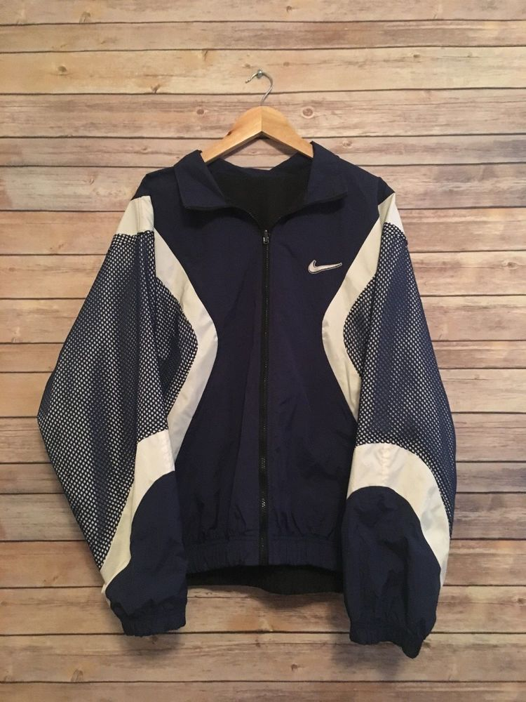 acb0ac13f864 Vintage Nike Windbreaker Jacket Swoosh Reversible Mens Large Swoosh By NIKE   NIKE  Casual