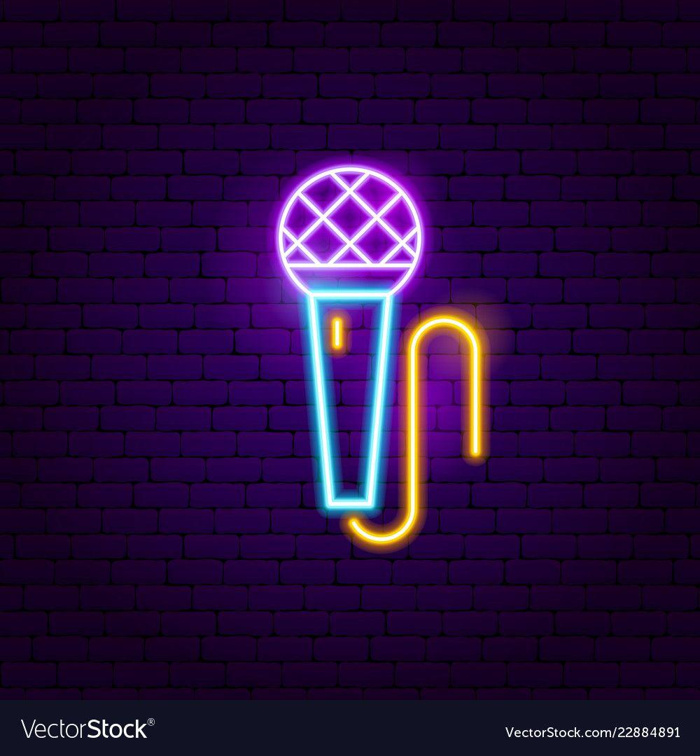 Microphone neon sign vector image on VectorStock Neon