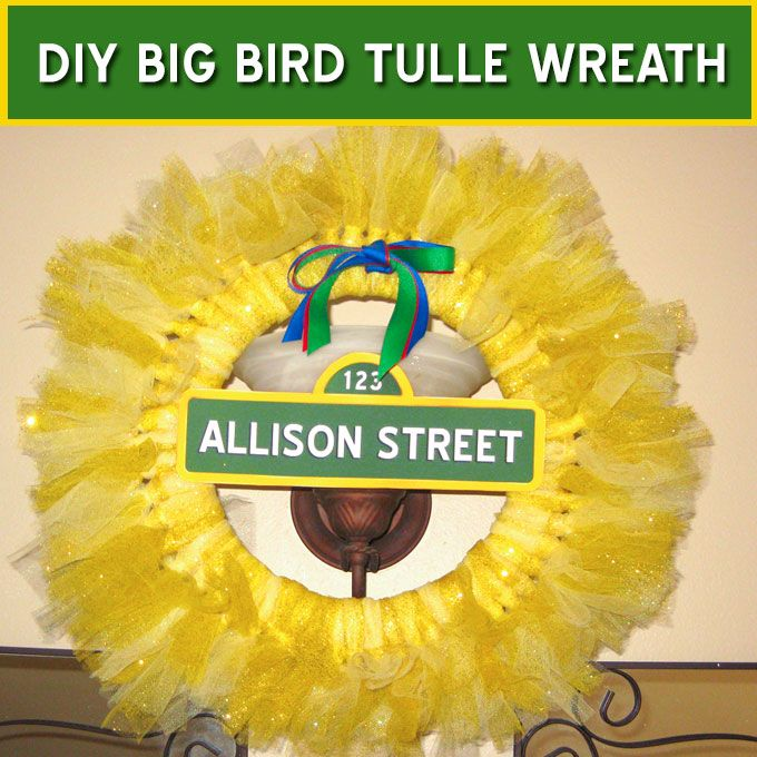 We have step by step directions for making a Sesame Street Big Bird Tulle Wreath for a Sesame Street themed birthday party.