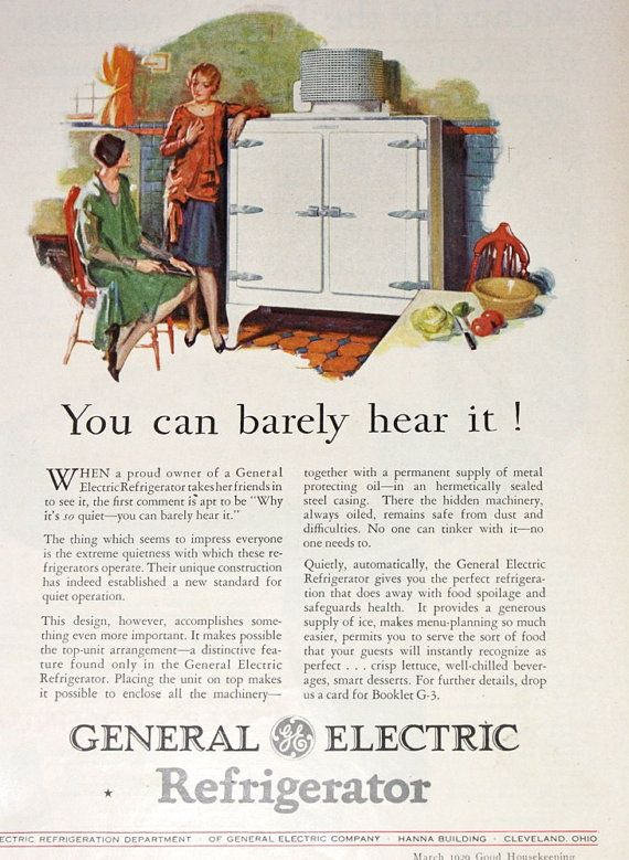 Vintage Ad Advertising / Refrigerator Ad / General Electric / 1920's ...