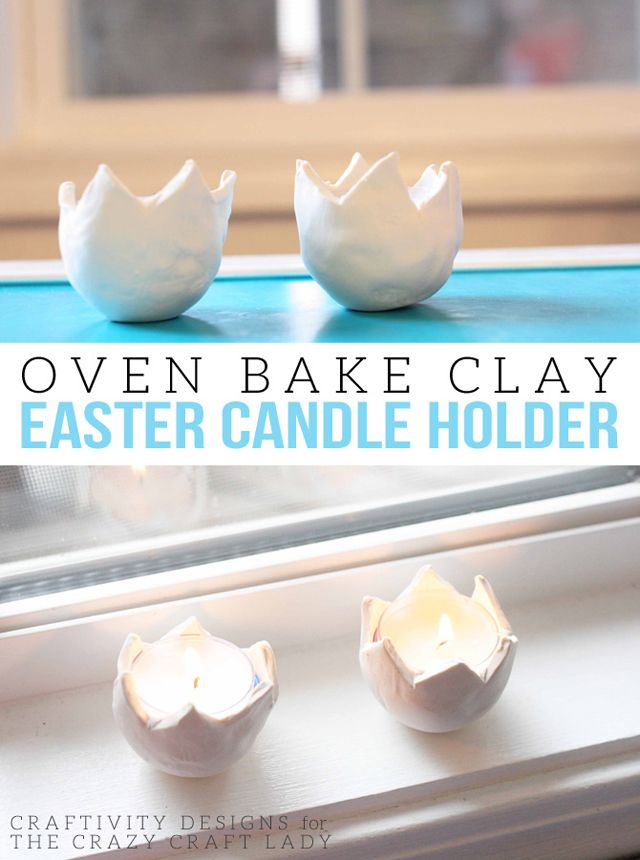 How to make Oven Baked Clay Eggs: DIY Easter Candle Holders