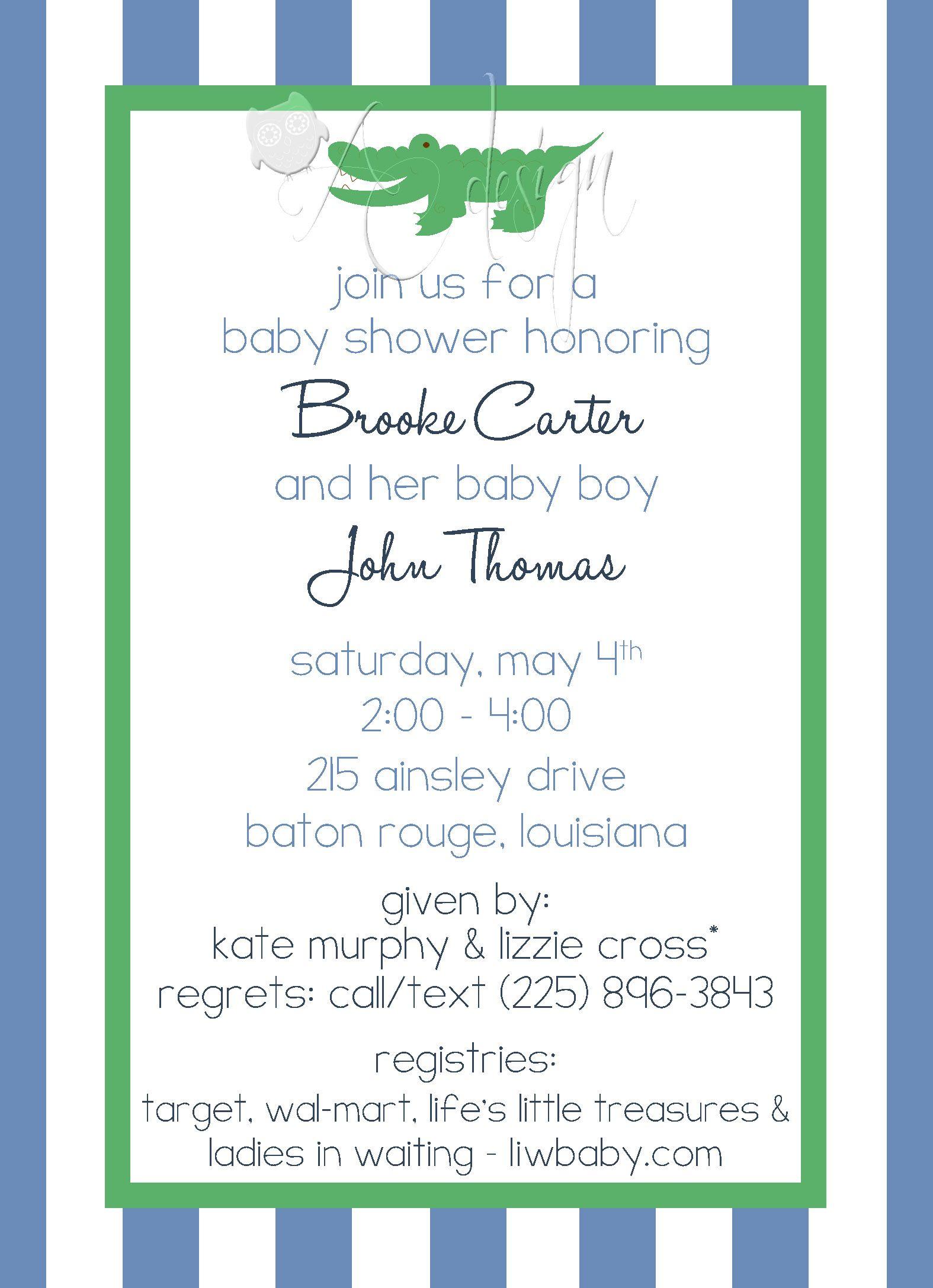 Alligator Baby Shower Or Birthday Invitation Kids