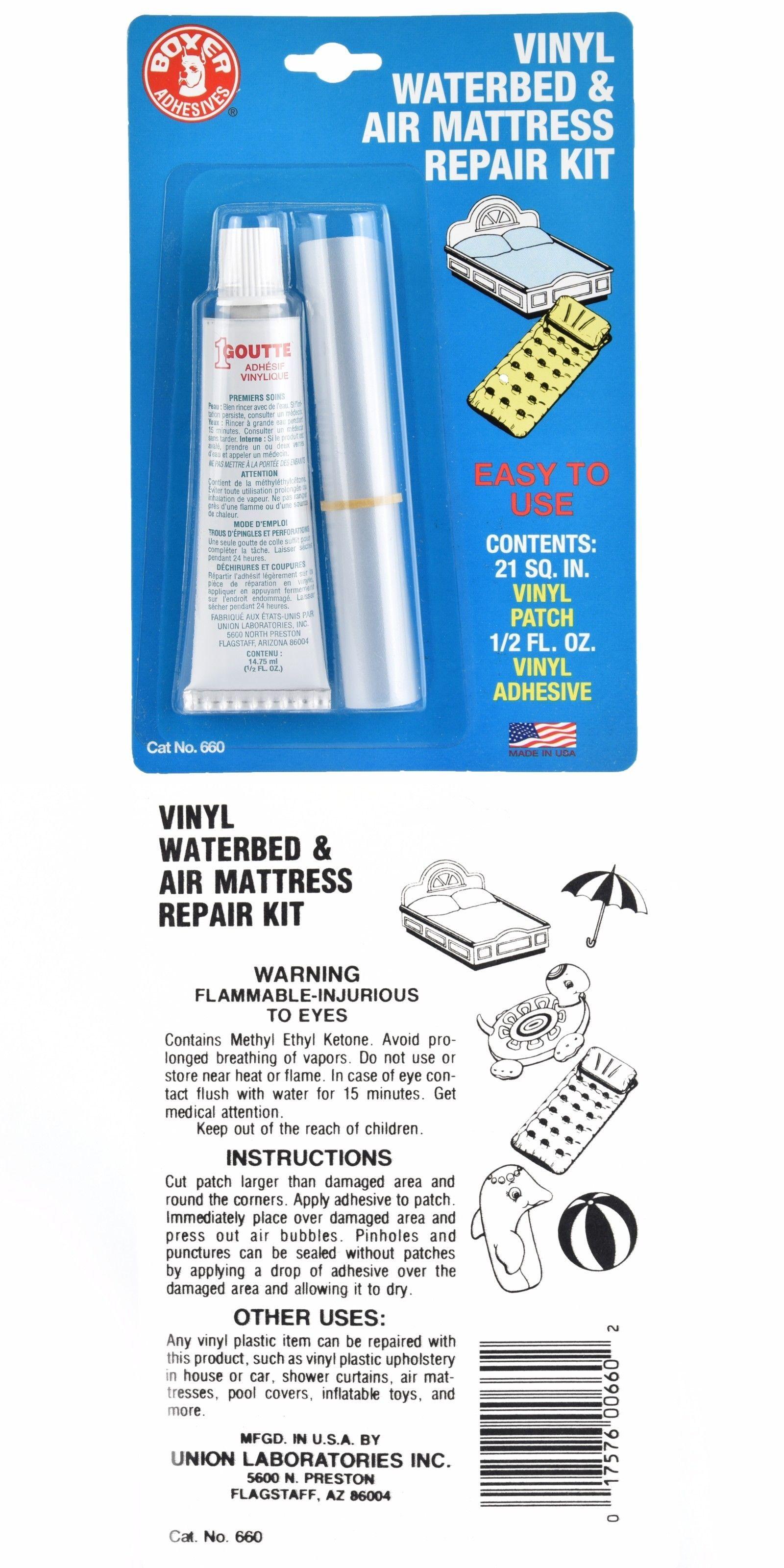 Union Laboratories Boxer Adhesives Vinyl Waterbed Air Mattress Repair Kit Air Mattress Repair Adhesive Vinyl Water Bed