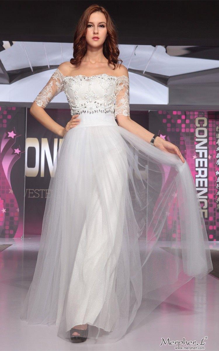 Silver Off-Shoulder Lace Neck Long Evening Dress - Merpher.L