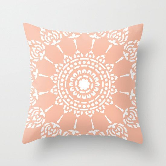 17 Divine Asian Inspired Living Room Designs That Exudes: Peach Mandala Pillow Cover