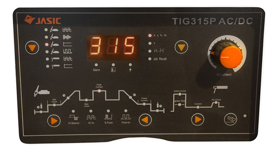 Jasic TIG 315 AC/DC panel. Welding equipment, Acdc, Tig