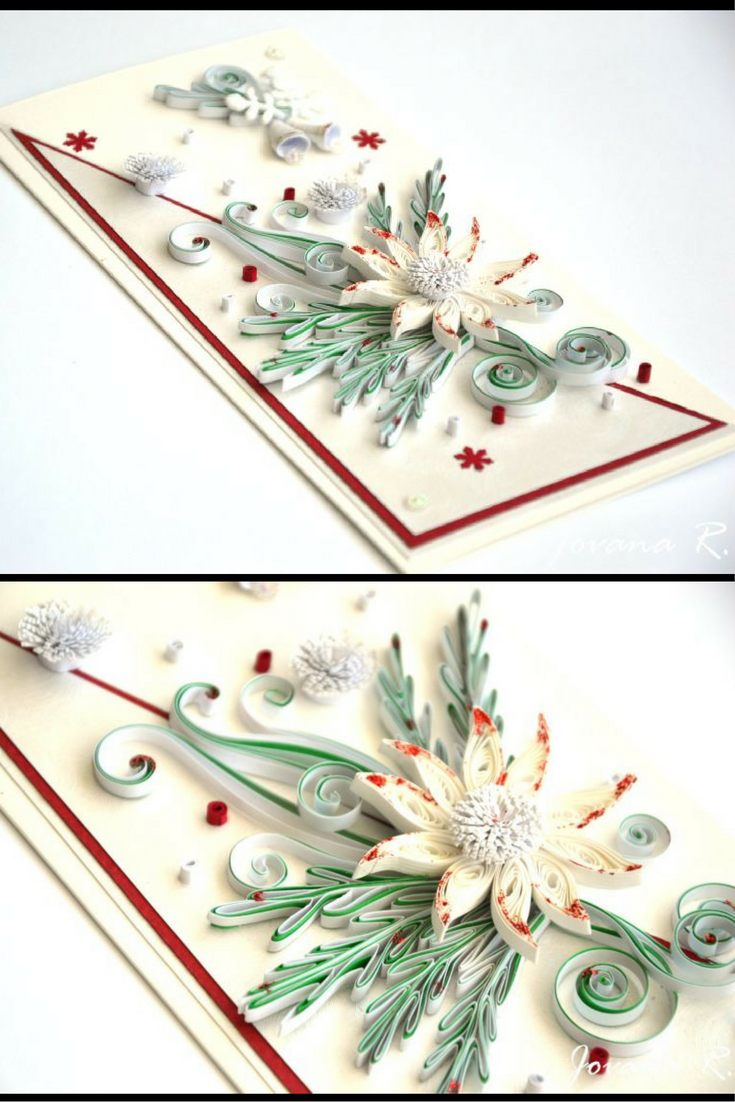 Quilling Card Christmas Card Greeting Card White Christmas Card