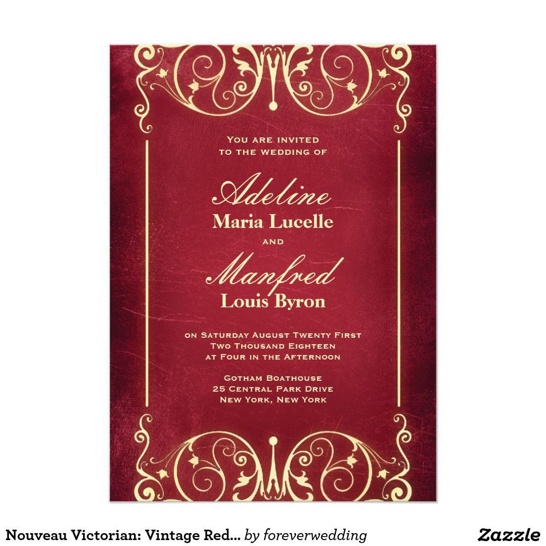 Nouveau Victorian: Vintage Red & Gold Wedding Invitation   Wedding ...