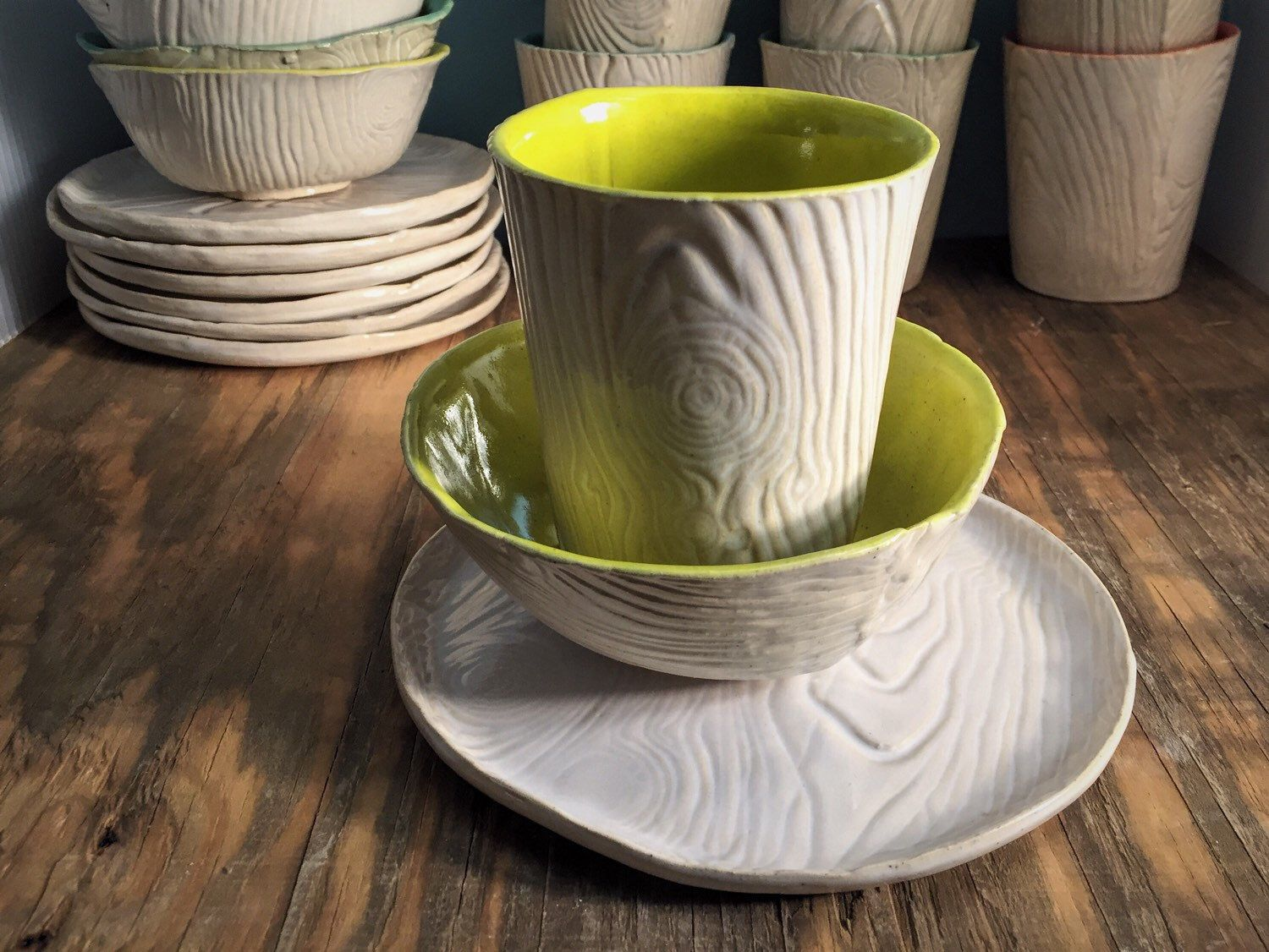 Rustic White Wood And Bright Yellow Green Textured Cup Sandwich Plate And Soup Bowl Set by SublimeSignsStudio on Etsy ... & Rustic White Wood And Bright Yellow Green Textured Cup Sandwich ...