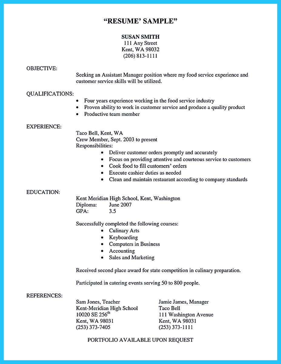 Cool Excellent Culinary Resume Samples To Help You Approved Check
