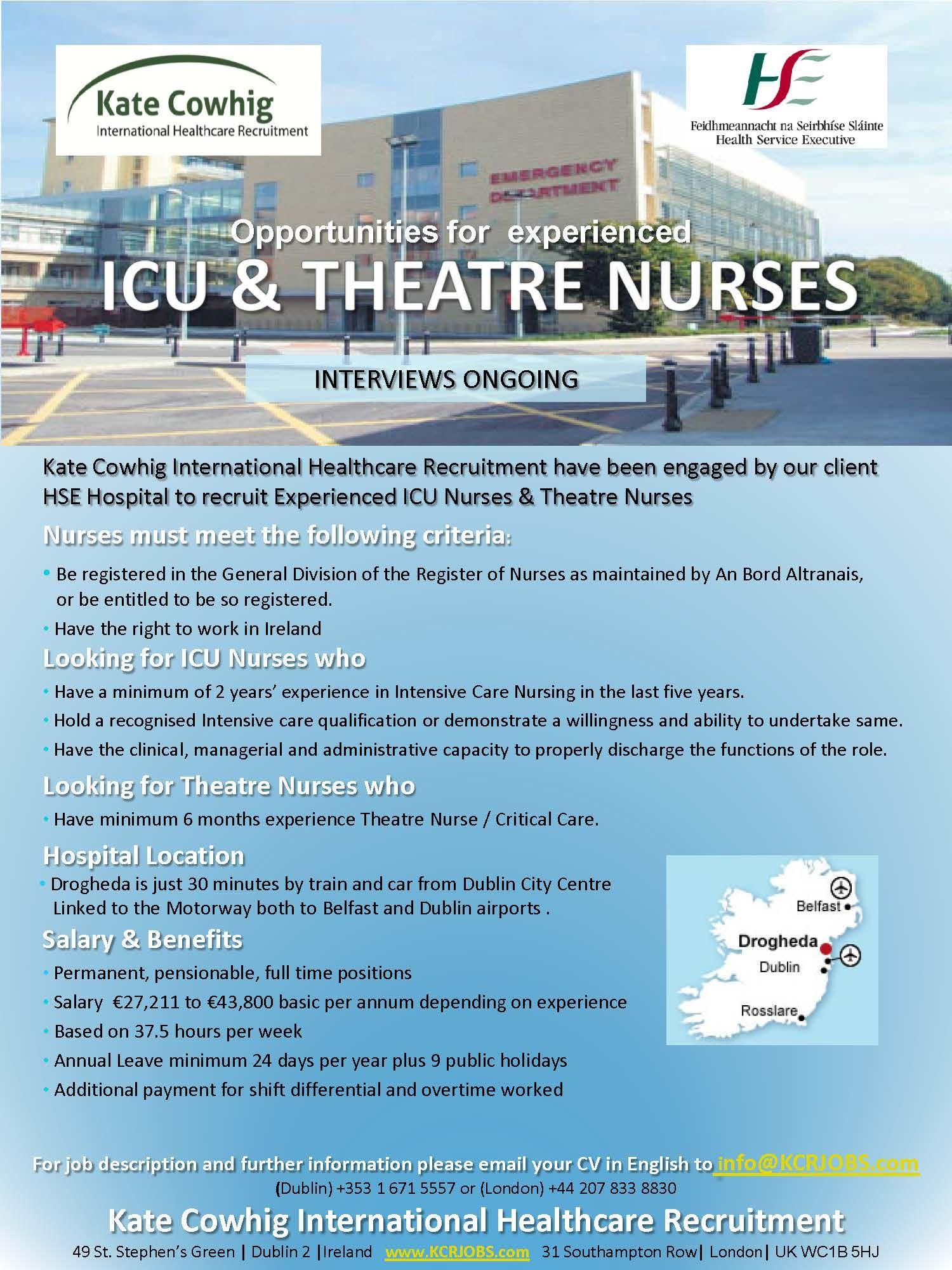 Nursing Jobs for ICU and Theatre Nurses - Ireland. HSE Hospital ...