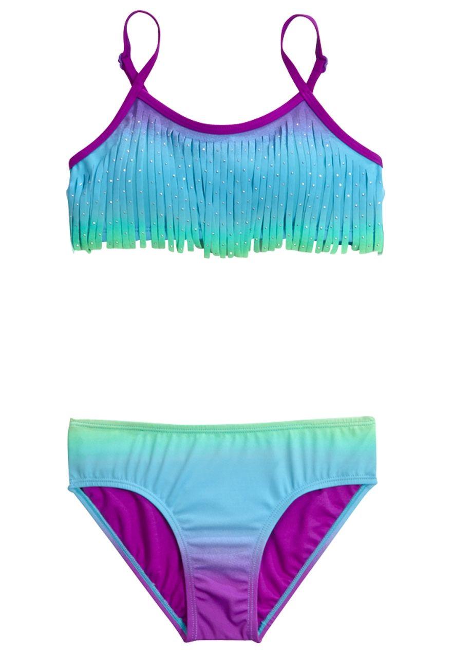 Ombre Fringe Bikini Swimsuit Original Price 32 90 Available At Justice Swimsuits Bikini Swimsuits Girls Bathing Suits