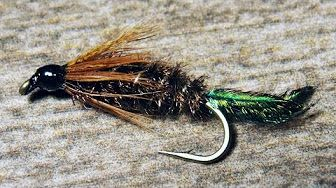 Trout Crack Fly  Scud  Sow bug nymph fly sz Brown// Tan 16