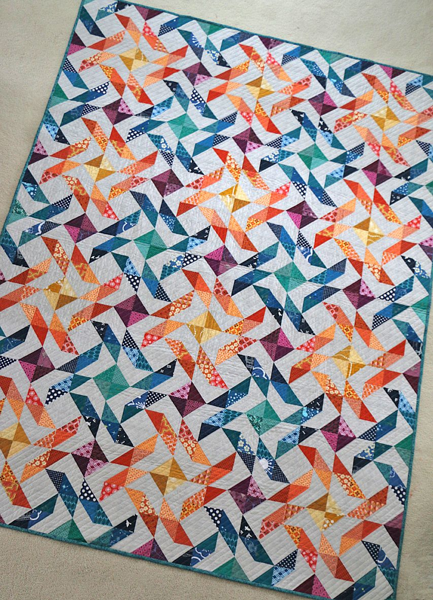 Freshly Pieced Modern Quilts Fire Whirl Quilt In Scraps