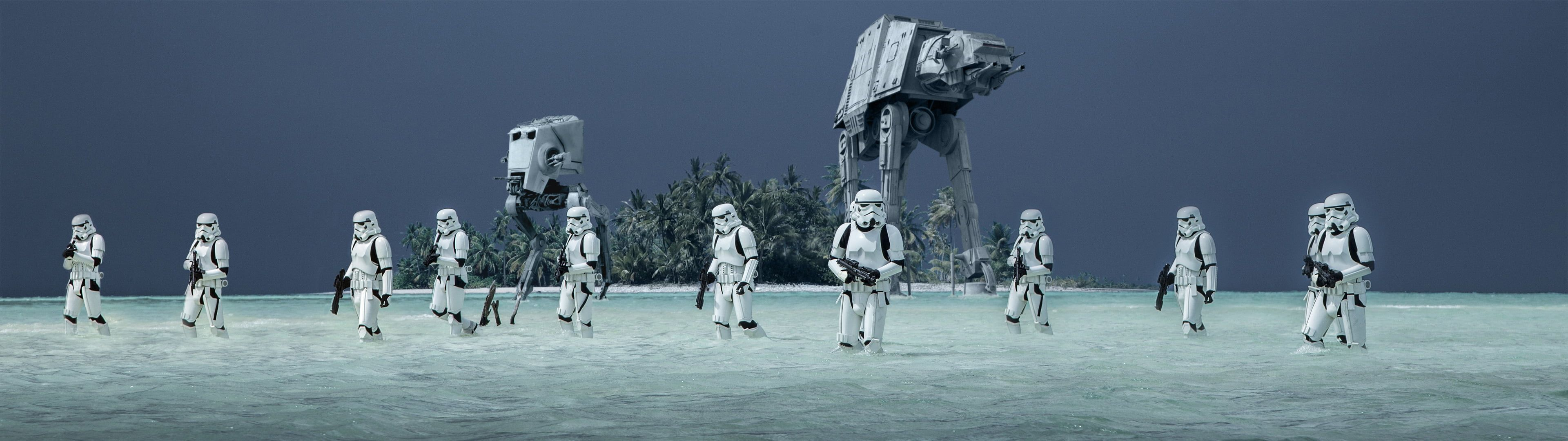 Storm Troopers Star Wars Rogue One A Star Wars Story Storm Troopers At At Walker At St Walker At St At At Bea At At Walker Dual Monitor Wallpaper Star Wars Dual monitor wallpaper hd star wars