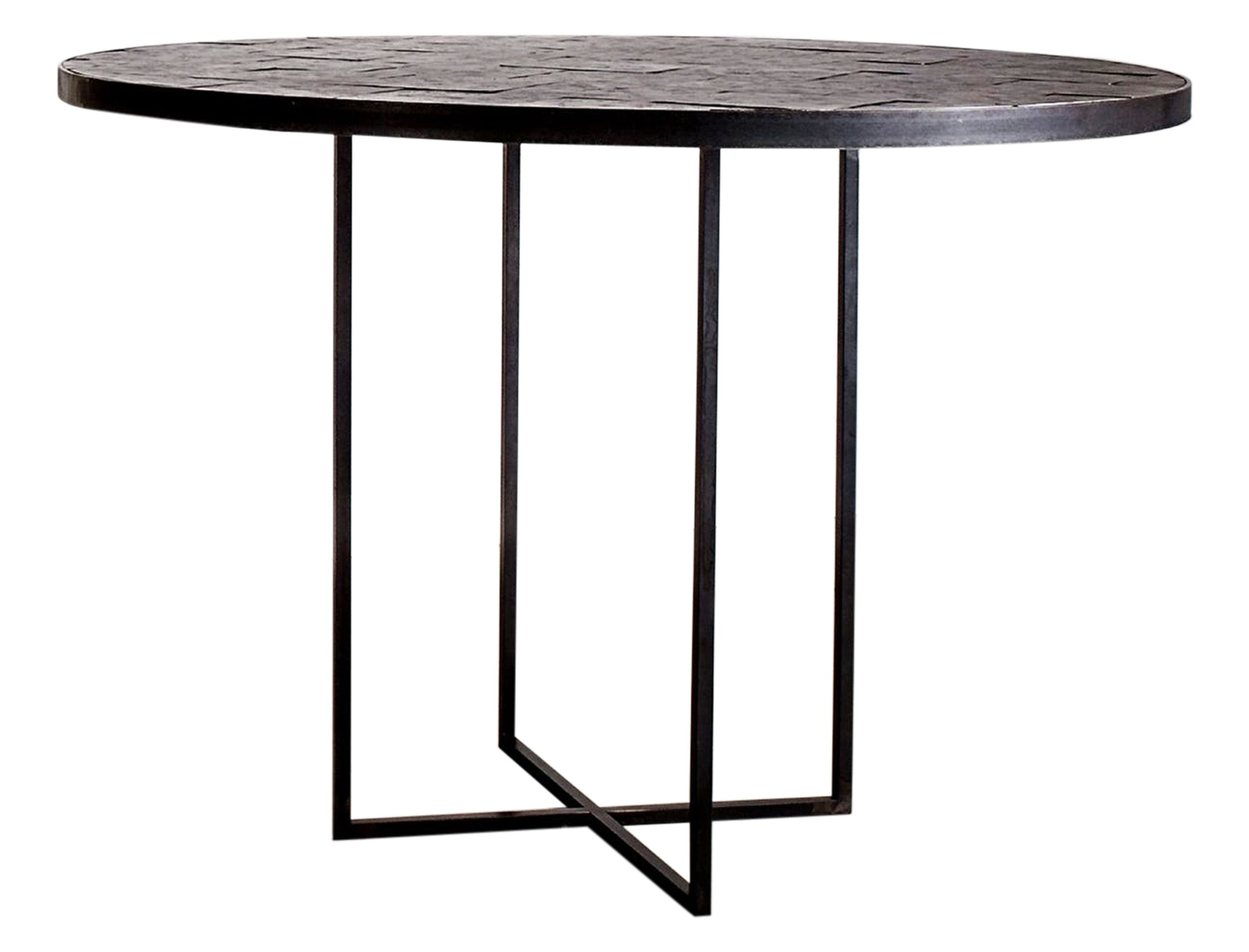 Hammered Steel Round Table Circular Dining Table Mid Century Modern Dining Room Dining Room Table