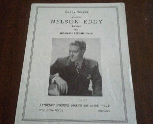 Nelson Eddy Chicago Concert Program Civic Opera House  Ebay