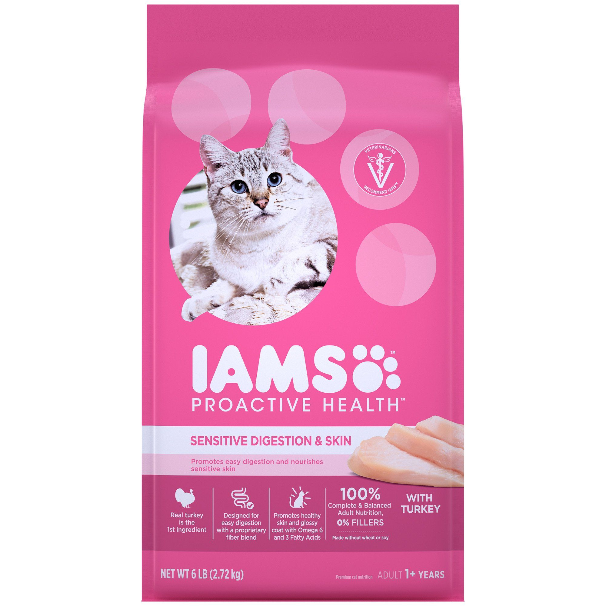 Iams Proactive Health Adult Sensitive Digestion Skin With Real Turkey Dry Cat Food 6 Lbs Bag In 2020 Dry Cat Food Cat Food Chicken Brown Rice