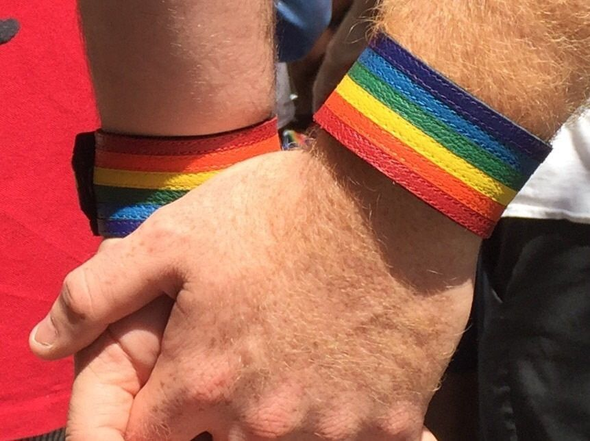 from Sylas red gay wristband