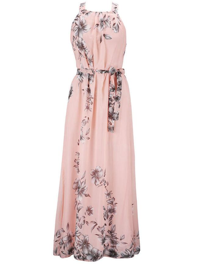 c6c5213abe6 Casual Round Neck Swing Floral Printed Vacation Chiffon Maxi Dress ...