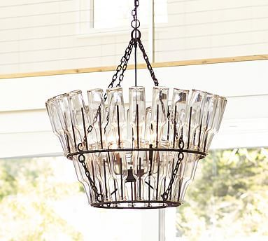 Pottery Barn French Bottle Chandelier Create A Casual French Cafe Ambience In A Dining Area Bottle Chandelier Wine Barrel Chandelier Pottery Barn Chandelier