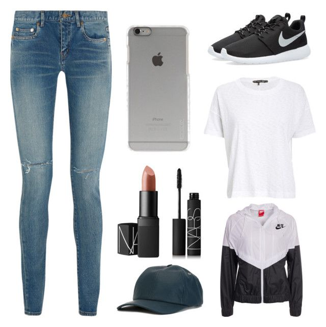 """""""Untitled #24"""" by ingejosevalentine on Polyvore featuring Yves Saint Laurent, rag & bone/JEAN, NIKE, A.P.C., NARS Cosmetics and Incase"""
