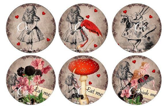78 images de collage digitale série Alice in Wonderland à imprimer à volonté by crinolline