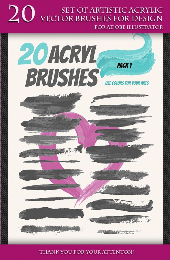 Set Of Artistic Acrilyc Vector Brushes For Design Vector Eps
