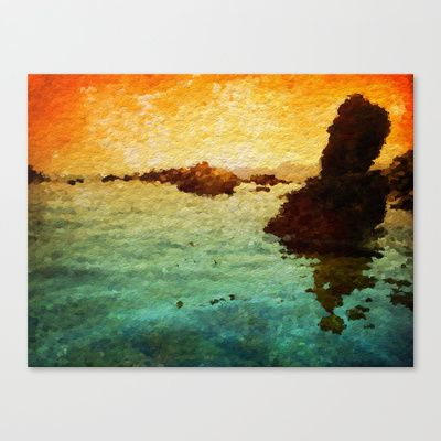 Plage de Saint-Clair - Pierre - France Stretched Canvas by Escrevendo e Semeando - $85.00