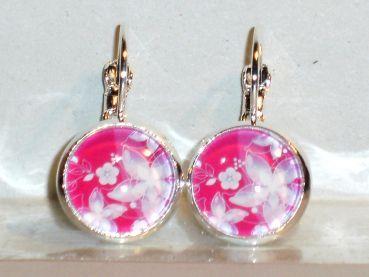 Modeschmuck ohrringe pink  Ohrringe Blume Blüte pink Modeschmuck Damen Hänger Glas ...