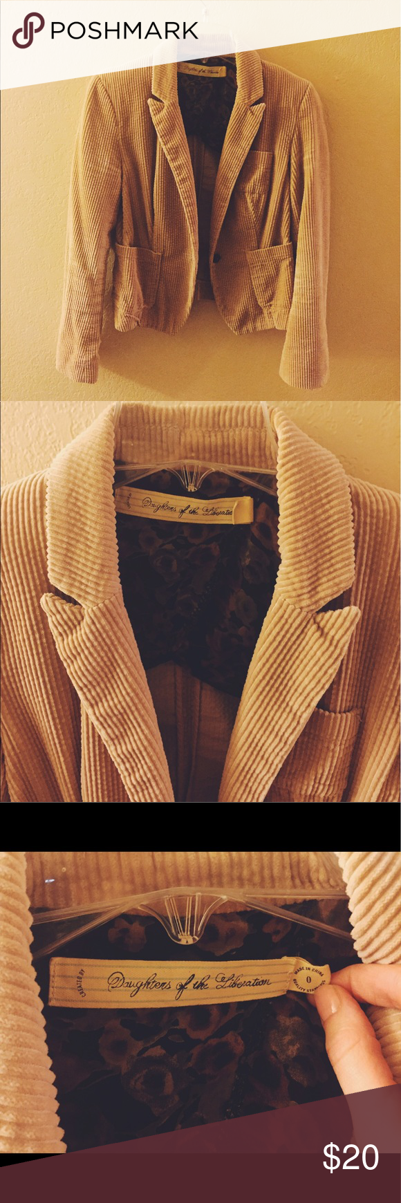 Corduroy Tan jacket from Anthropology This is a SUPER cute tan corduroy jacket that looks perfect for both fall and spring! Anthropologie Jackets & Coats Blazers