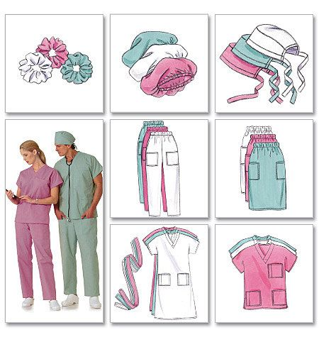 Butterick Sewing Pattern B4946 Men S Women S Scrubs Scrub Hat