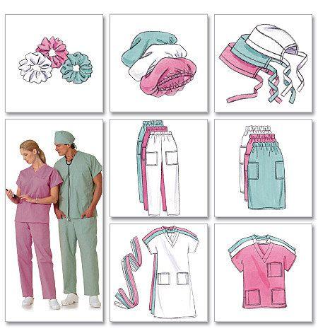 Butterick Sewing Pattern B4946 Men S Women S Scrubs Uniforms Dress Belt Top Skirt Pants Hat And Ponytail Holder Modeles Gommage De Chapeau Motif De Gommages Vetements Sans Couture