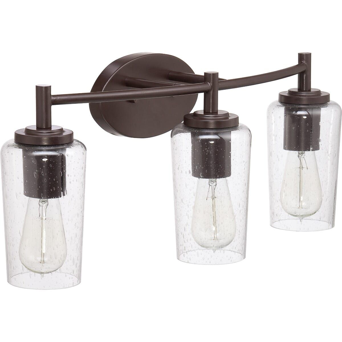 "Photo of Quoizel Edison 3-Light 10 ""bathroom basin lamp in Western Bronze"