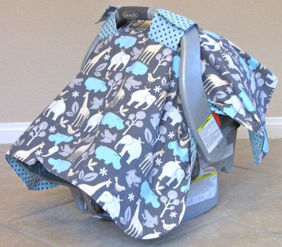 Boy Carseat Canopy Cover Car Seat Tent Blanket Michael Miller Zoology In Sea