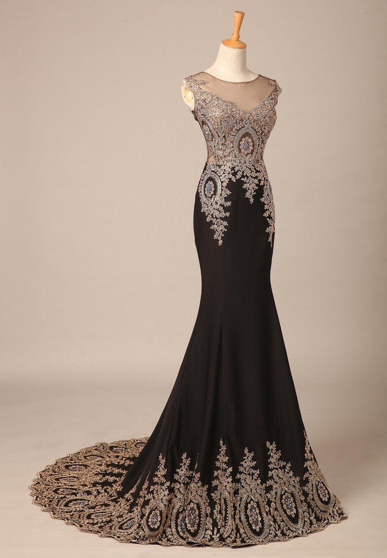 Bridal_Mall Damen Elegant Schwarz Elastisch Abendkleid Lang mit ...