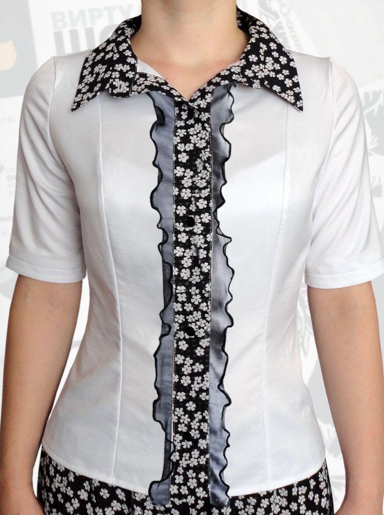 34$ Классическая белая блузка для полных девушек с короткими рукавами, черными рюшами из сетки, вставкой-планкой и воротником в маленький белый цветочек Артикул 808, р50-64 Белые блузки большие размеры Деловые блузки большие размеры Офисные блузки большие размеры  Блузки классические большие размеры Блузки дизайнерские большие размеры  Блузки с коротим рукавом большие размеры