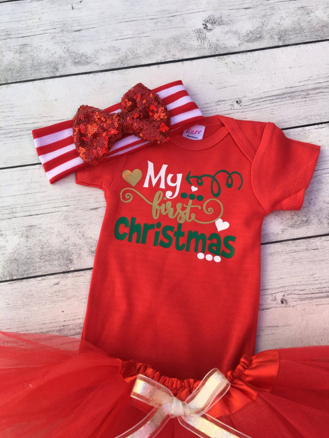 My first christmas outfit  newborn christmas outfit  babys first