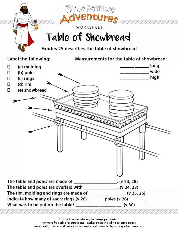 bible worksheet table of showbread the tabernacle places to rh pinterest com