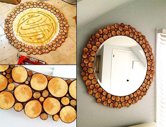 spiegel deko selber machen-basteln mit naturmaterialien ...