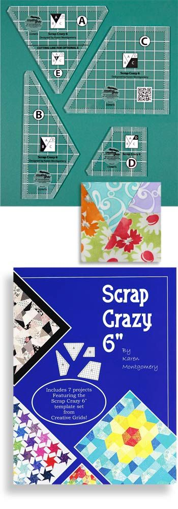 Creative Grids Non-Slip Scrap Crazy 6 Template By Karen Montgomery