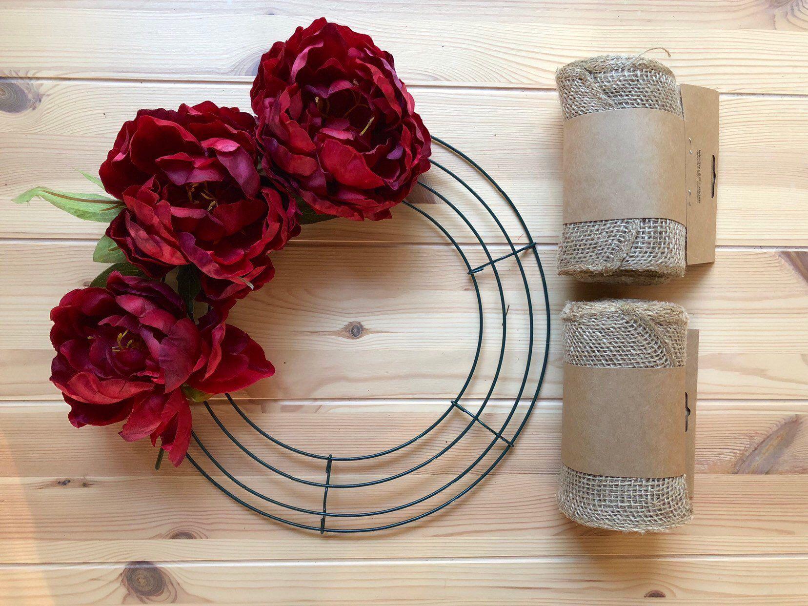 "DIY Wreath Kit; Burlap Wreath; 14"" Wreath Frame Frame"