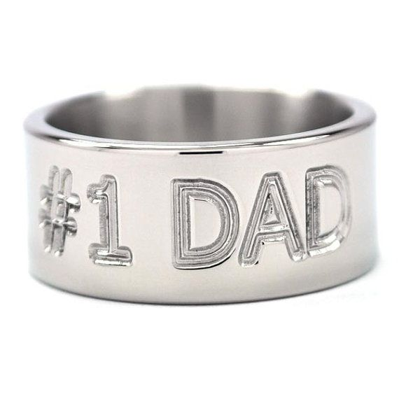New Titanium Ring with Number 1 Dad Engraved on the Outside of the Ring via Etsy