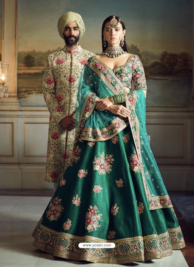 0de46e4bd8 Dark Green Phantom Silk Embroidered Designer Lehenga Choli in 2019 ...