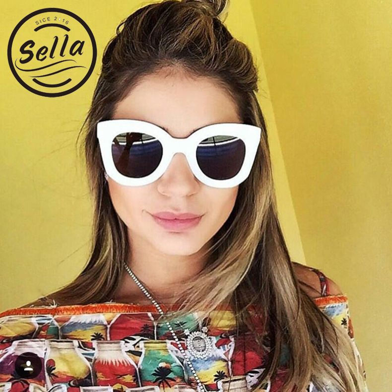 Oversized Women Chunky Cat Eye Polka Dot Sunglasses Retro Fashion Cateye Glasses