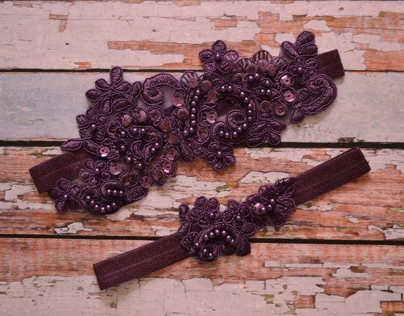 This Is A Unique Handmade Vintage Style Plum Eggplant Purple Beaded Floral Lace Wedding Garter Set The Made With Ivory