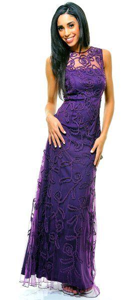 Floor Length Eggplant Prom Dresses