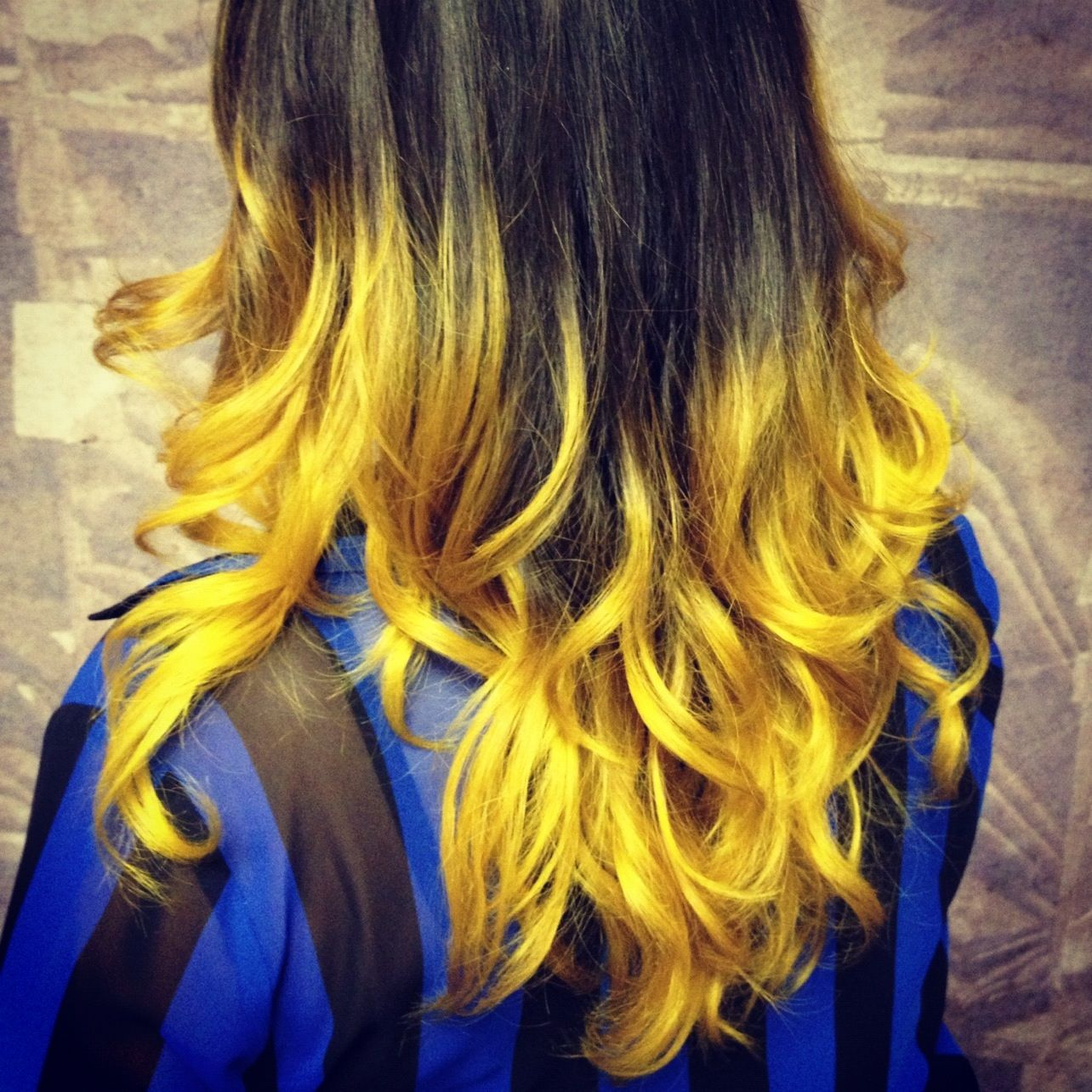 yellow ombre hair stripes fall | Hair | Pinterest | Ombre