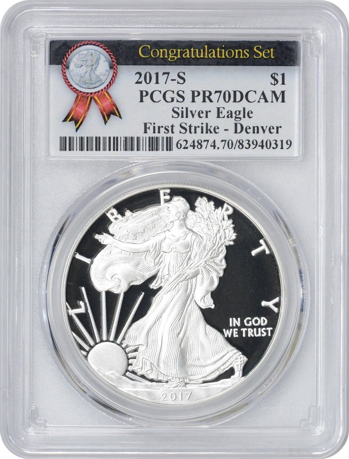 2017 s silver eagle congratulations set pr70dcam pcgs first strike denver mint